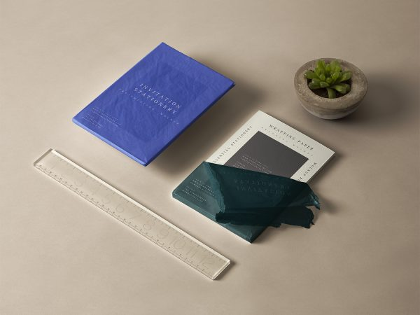 Free Wrapped Invitation Card and Brochure Mockup