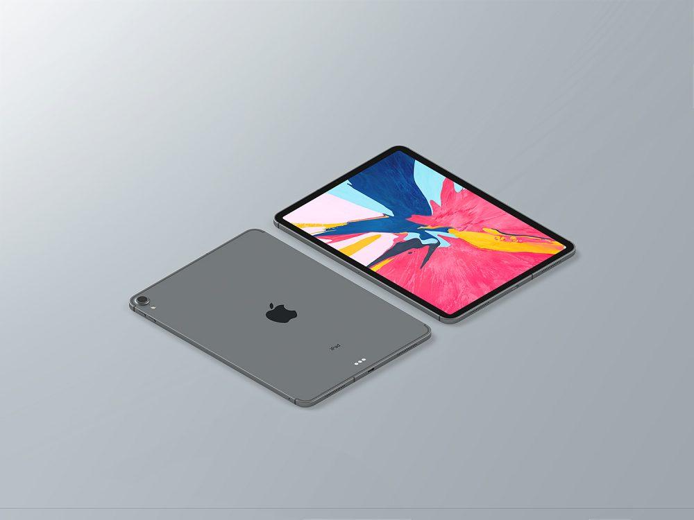 Free iPad Pro 2018 Isometric Mockup
