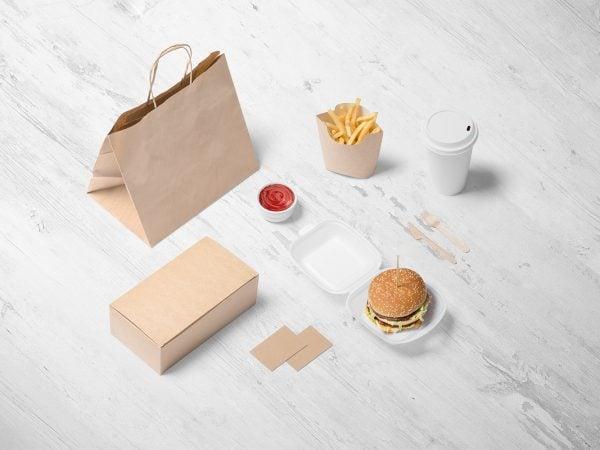 Free Burger Store Branding Mockup