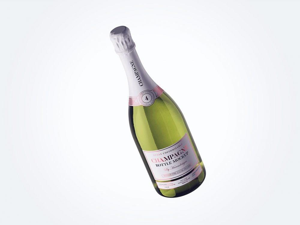 Free Champagne Bottle Label Design Mockup