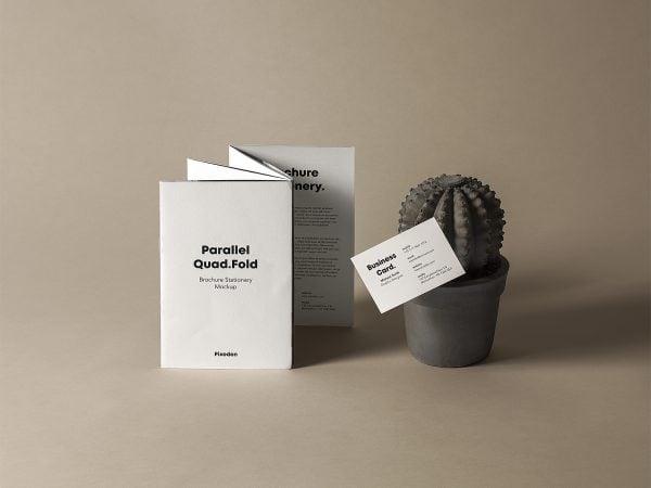 Free Quad-Fold Brochure Mockup