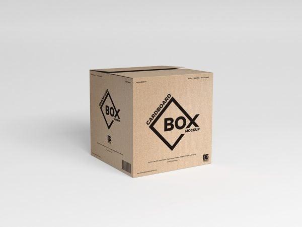 Free Square Cardboard Box Design Mockup