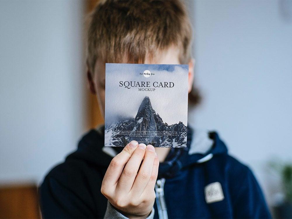 Free Square Greeting Card Mockup