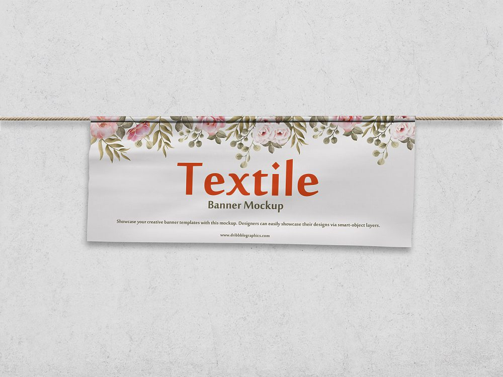 Free Textile Banner PSD Mockup