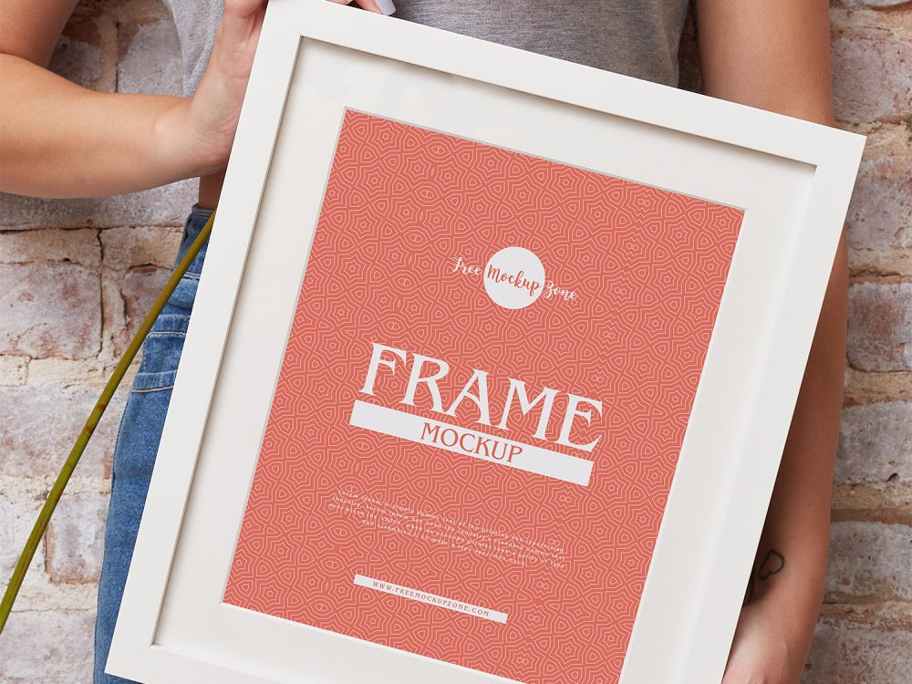 Girl Showing Photo Frame Design Mockup