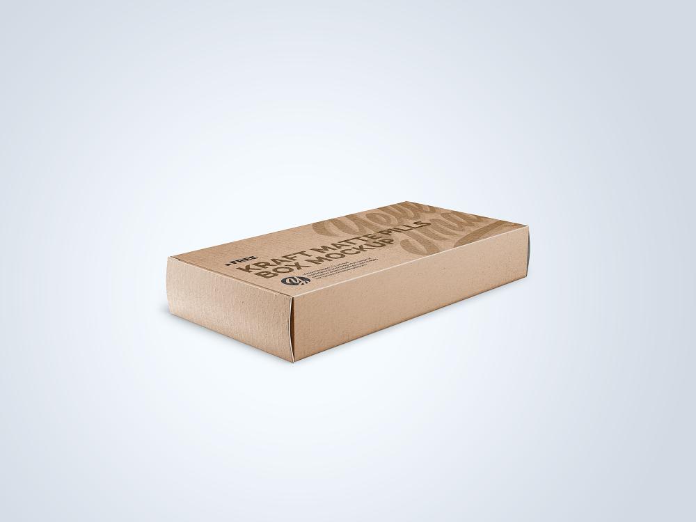 Kraft Matte Pills Box Mockup - Half-Side View