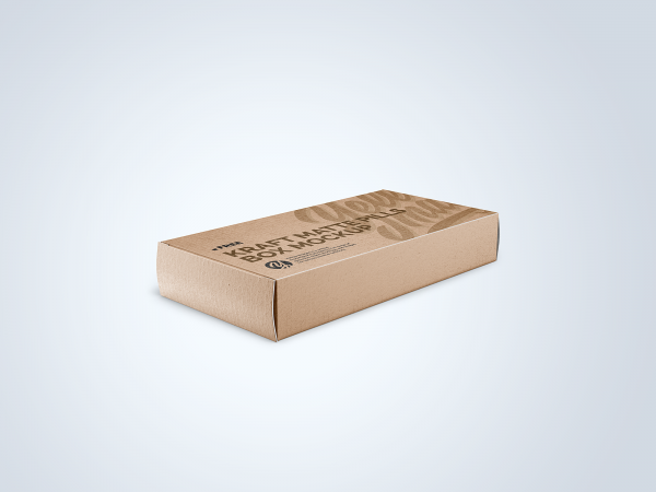 Kraft Matte Pills Box Mockup - Half-Side View
