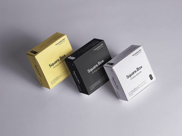Three Square Boxes Packaging Free Mockup
