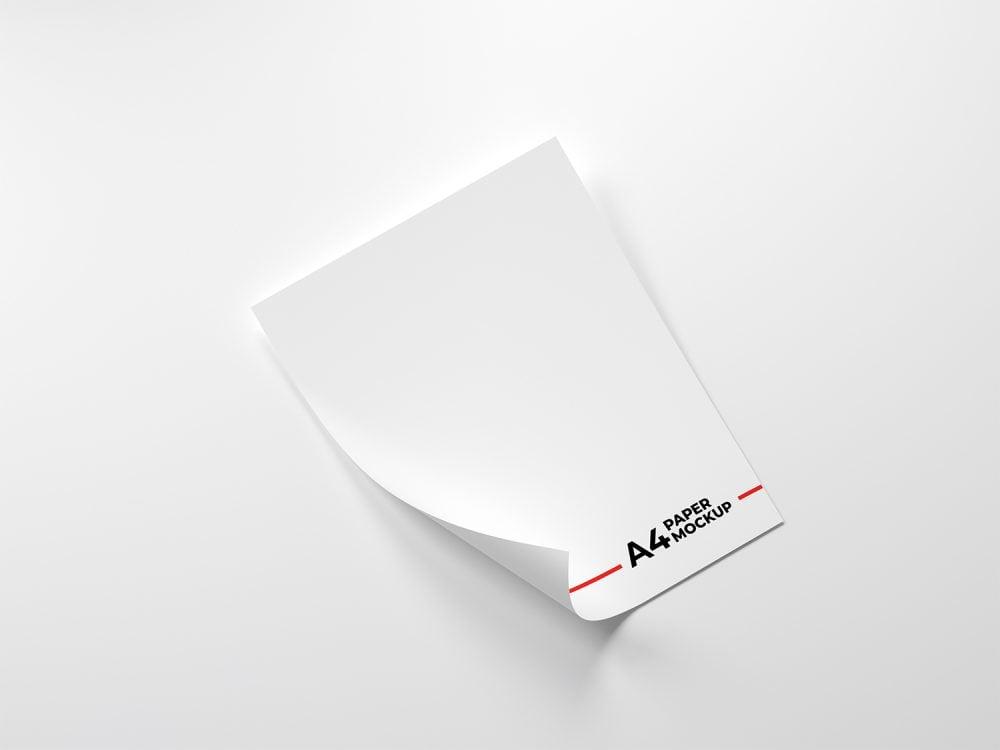 Folded A4 Paper Free Mockup