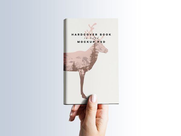 Free Hardcover Book in Hand Mockup