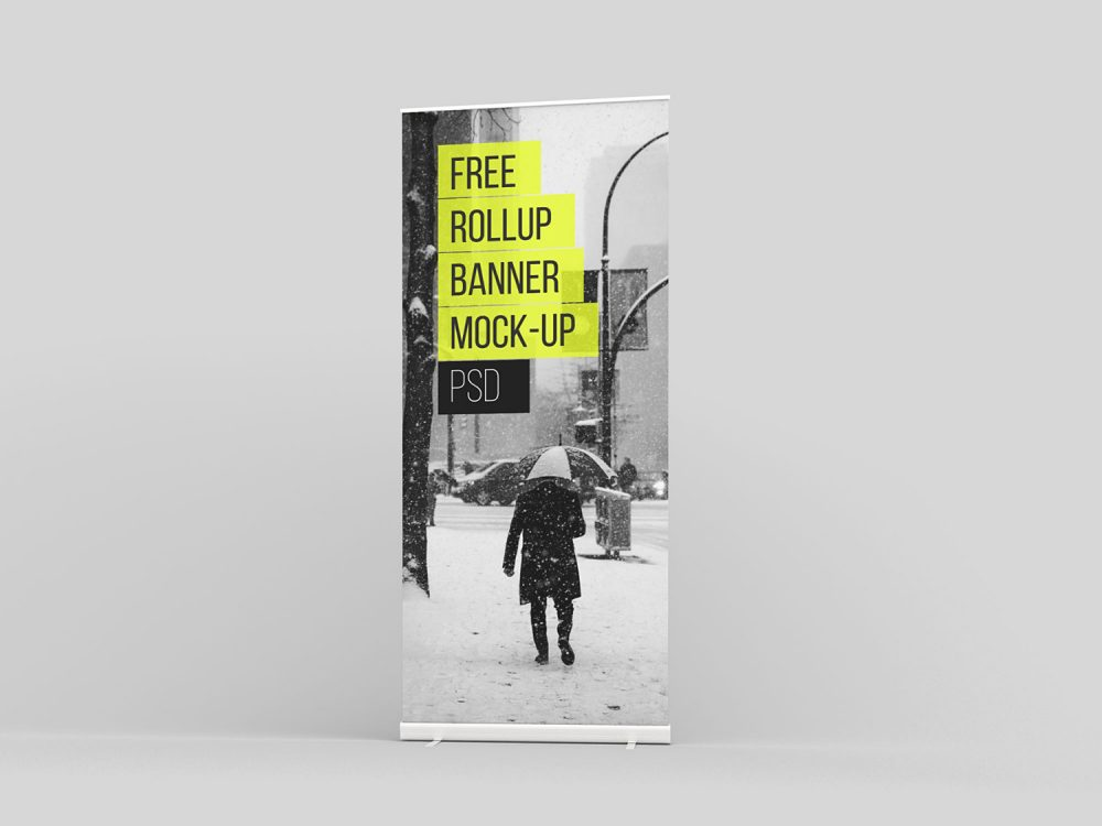 Free Roll-Up Mockup PSD