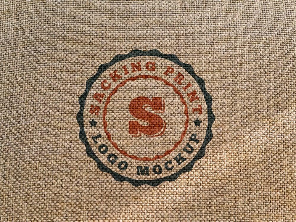Free Sacking Print Logo Mockup