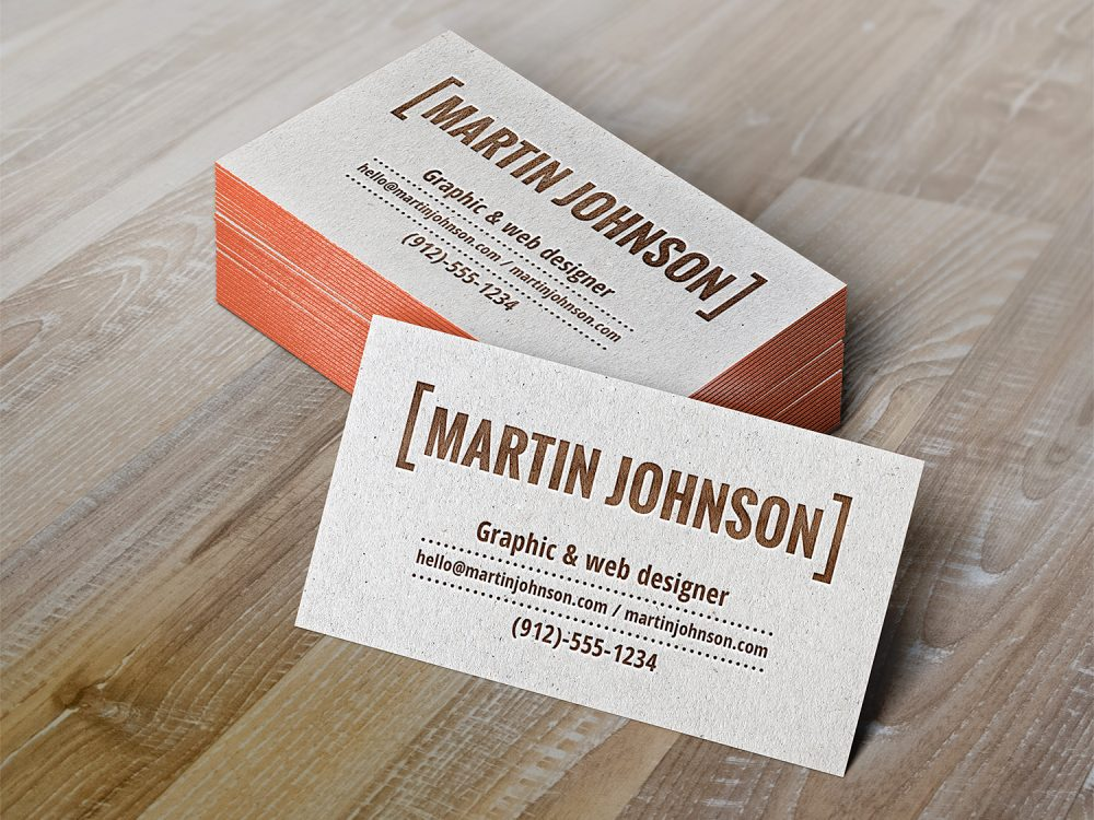 Letterpress Business Cards Free Mockup