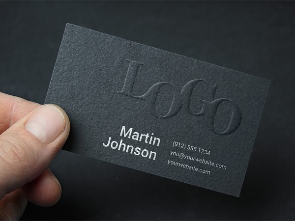 Free Embossed Business Card Mockup