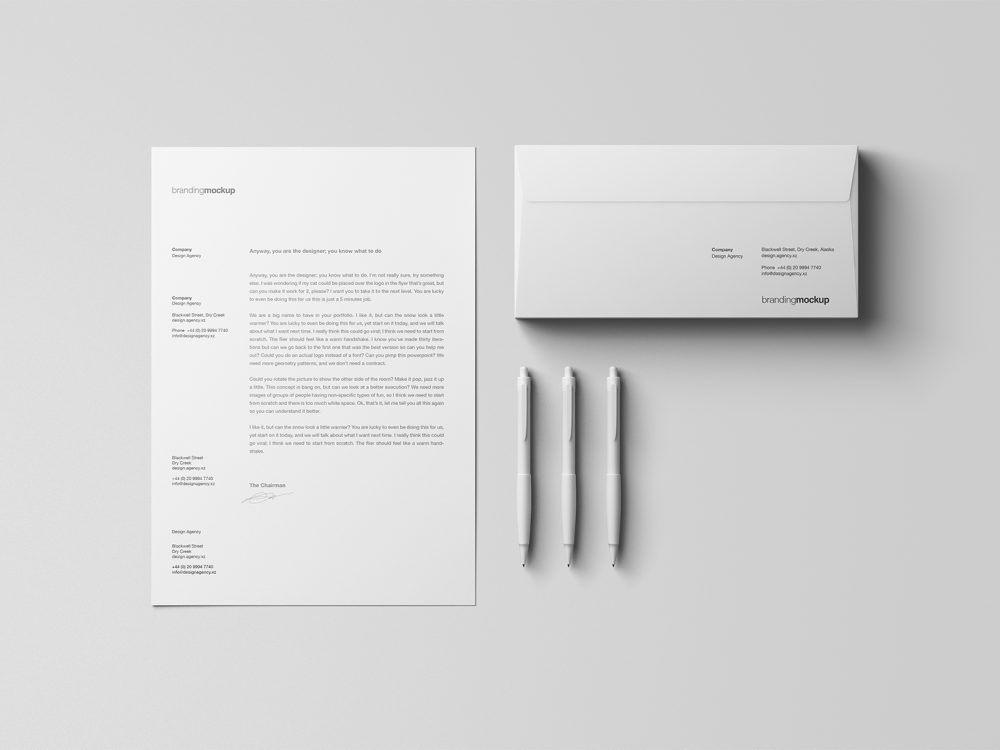 Free Letterhead with Envelope Stationery Mockup