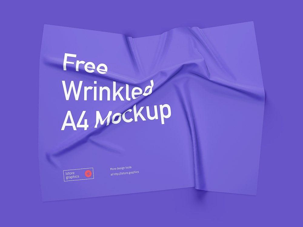 Wrinkled A4 Paper Free Mockup