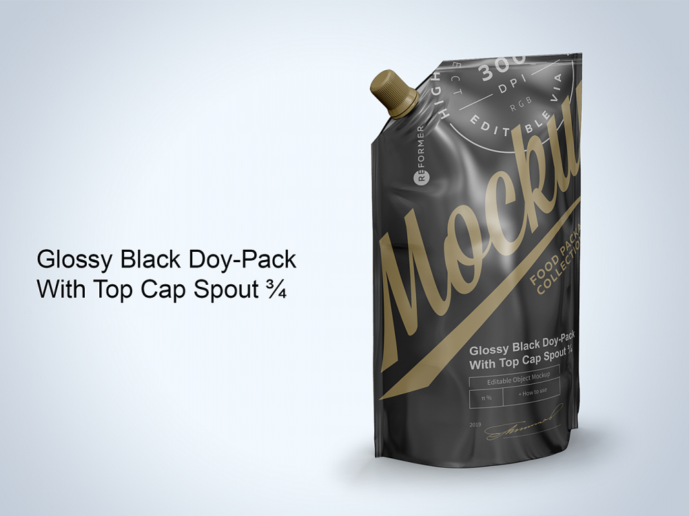 Free Glossy Black Doy-Pack Mockup with Top Cap Spout