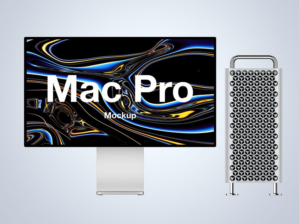 Mac Pro Mockup with Apple Display