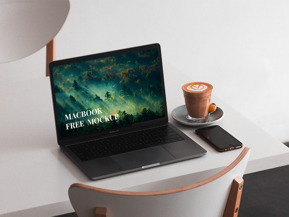 MacBook on a Table Mockup