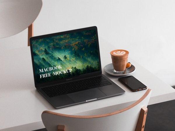 MacBook on a Table Mockup