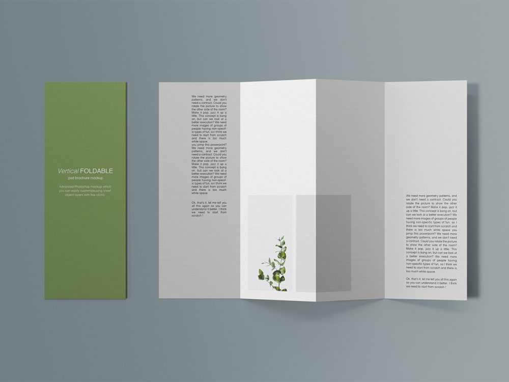 Vertical Foldable Brochure Free Mockup