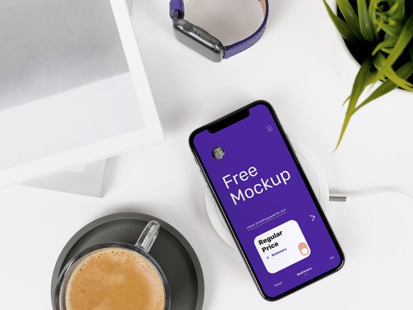iPhone X on Desk Free Mockup