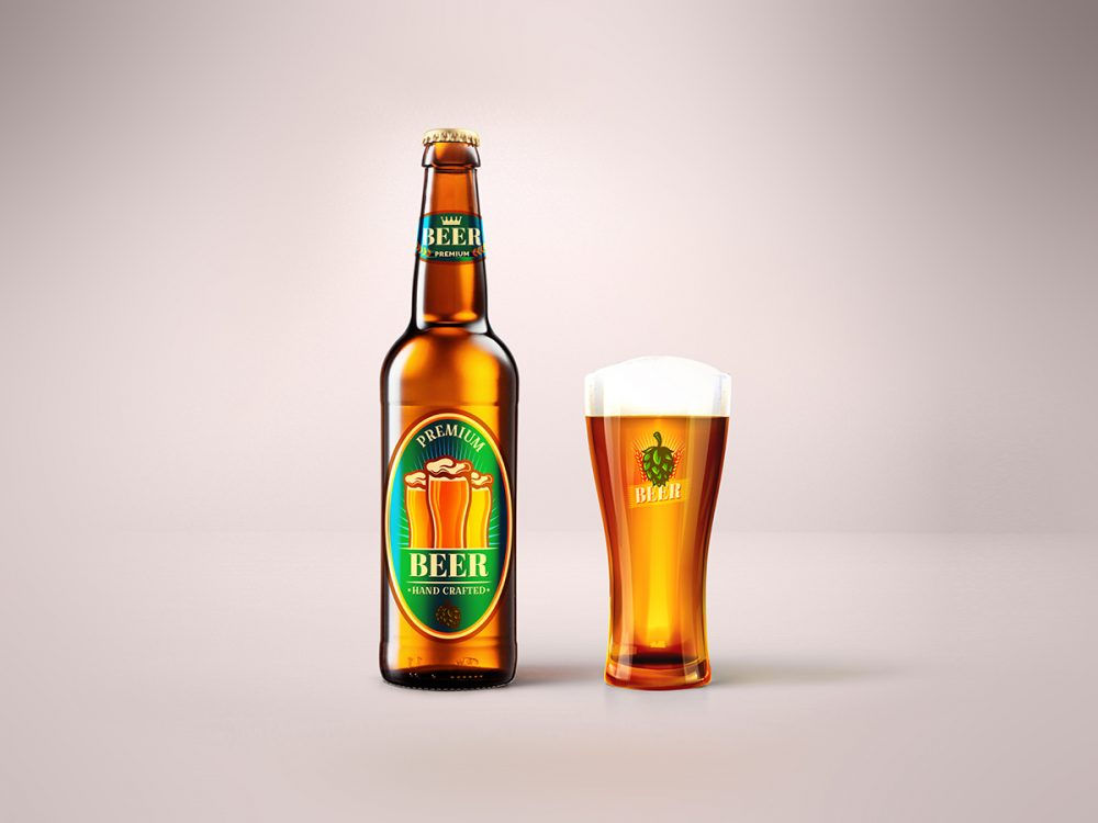 Blonde Beer Bottle & Glass Mockup