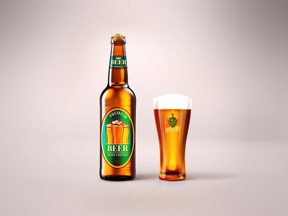 Blonde Beer Bottle & Glass Mockup