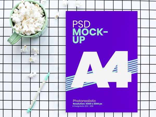 Free A4 Flyer/Movie Poster Mockup PSD