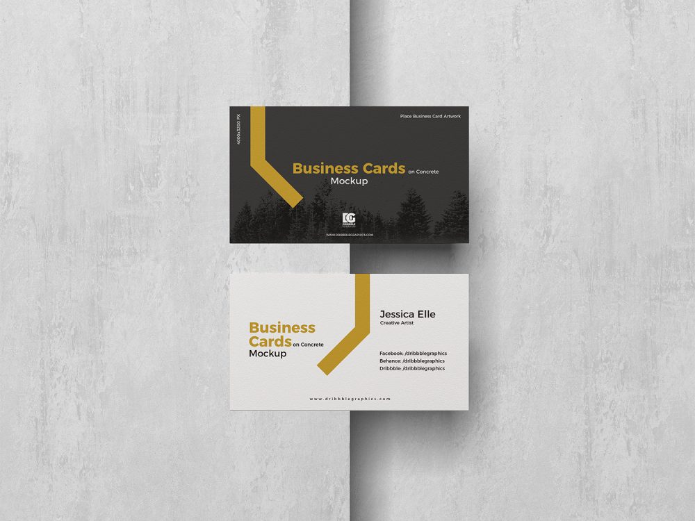 Free Business Cards Mockup on a Concrete Background