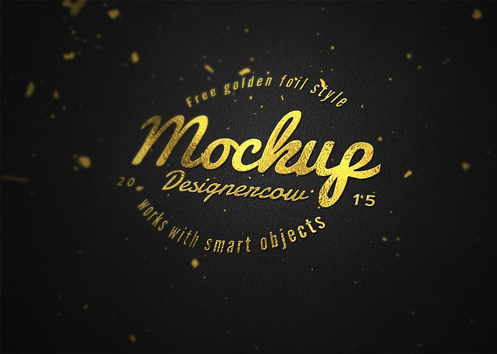 Free Logo Mockup Gold Foil Effect