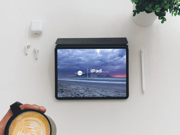 Free iPad Mockup Top View