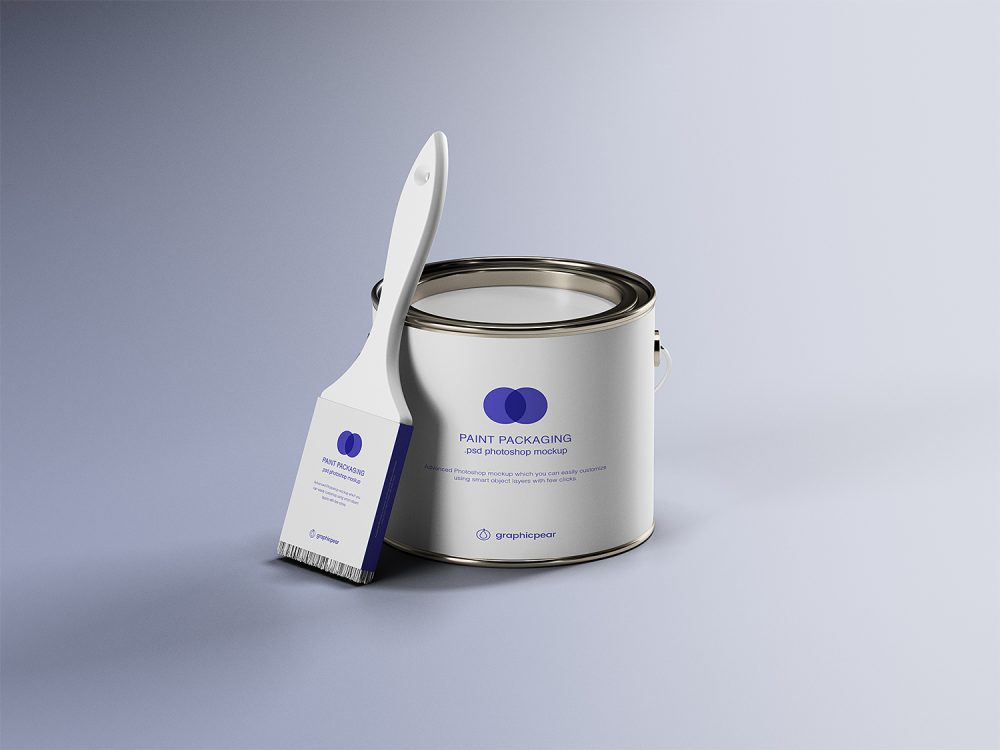 Paint Can & Brush Packaging Mockup