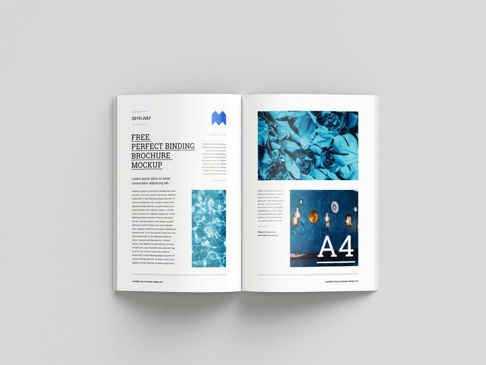 Free Perfect Binding Brochure Mockup