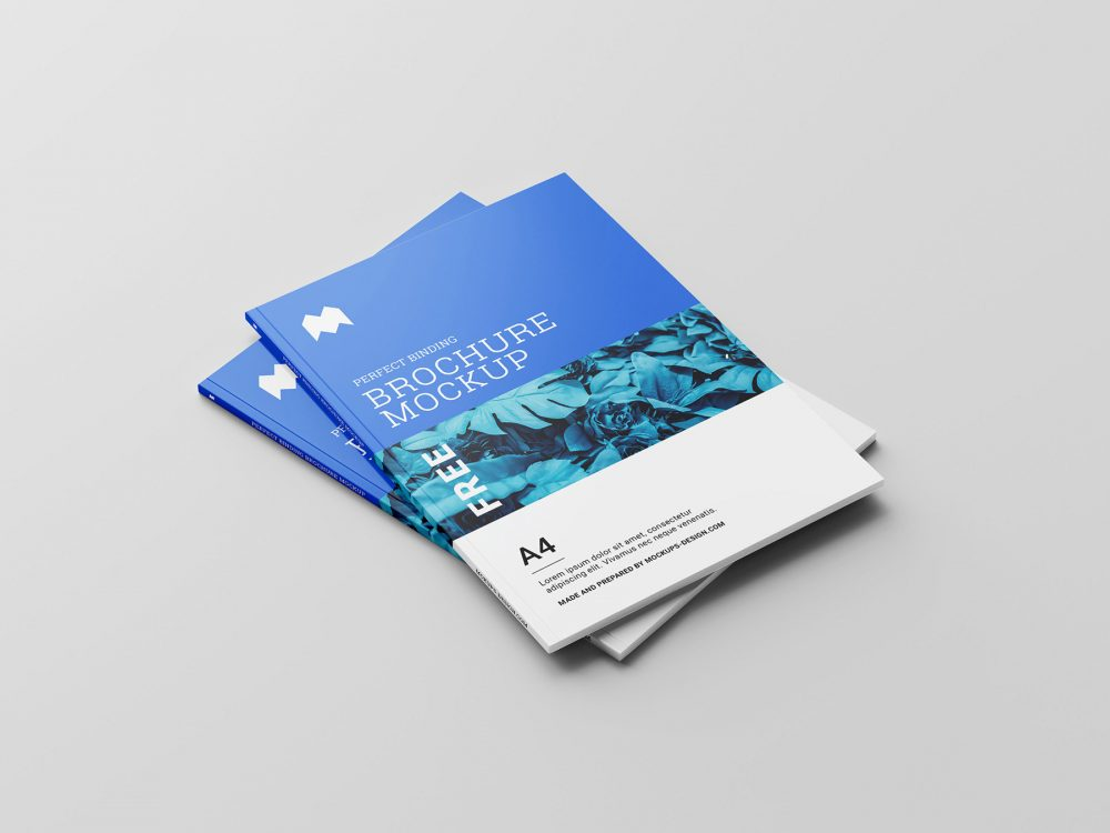 Free Perfect Binding Brochure Mockup