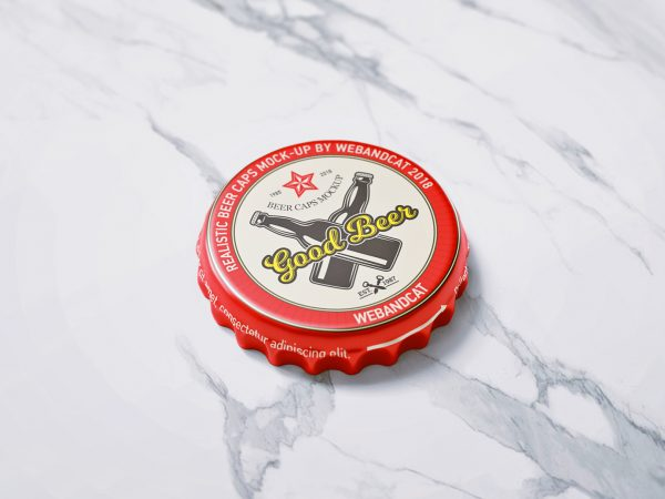 Bottle Cap Mock-Up Free PSD