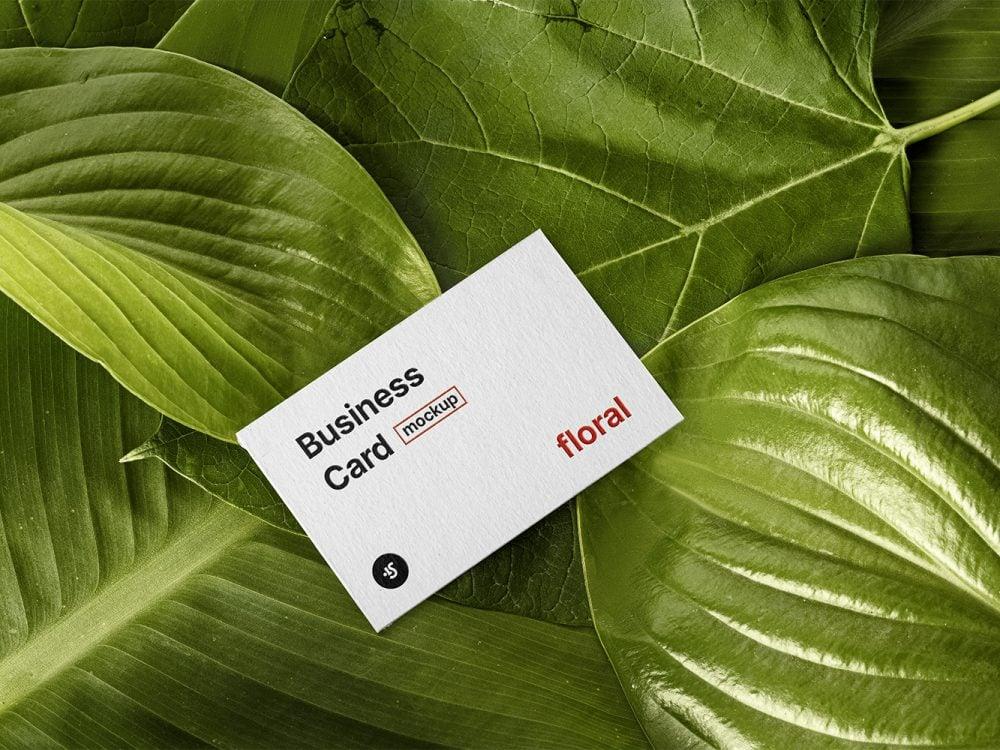 Free Floral Business Card Mockup