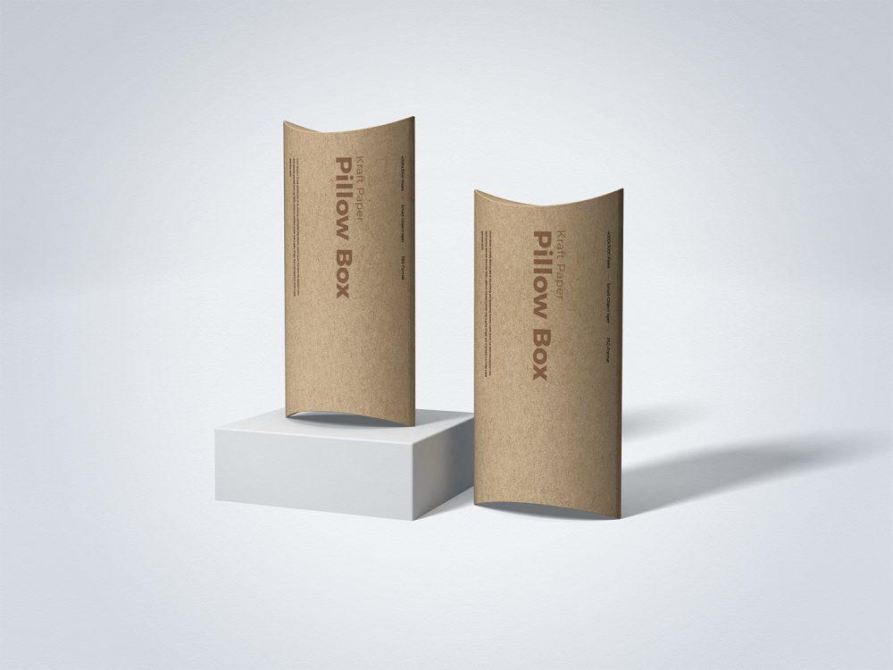Free Kraft Paper Pillow Box Mockup