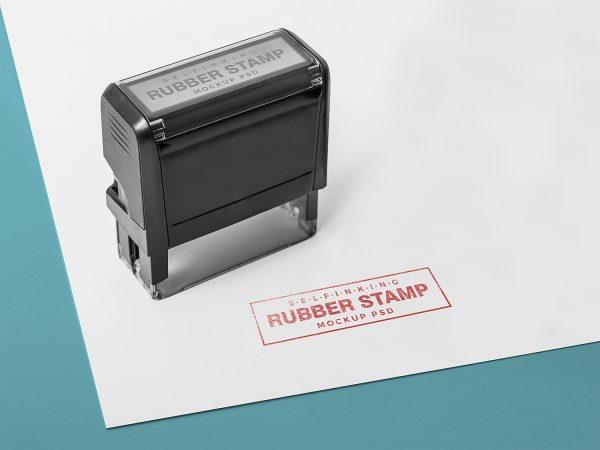 Free Self Inking Rectangular Rubber Stamp Mockup