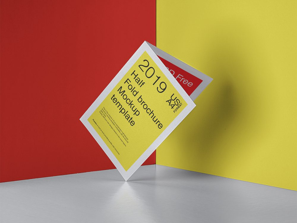Half-Fold Brochure PSD Mockup US A4