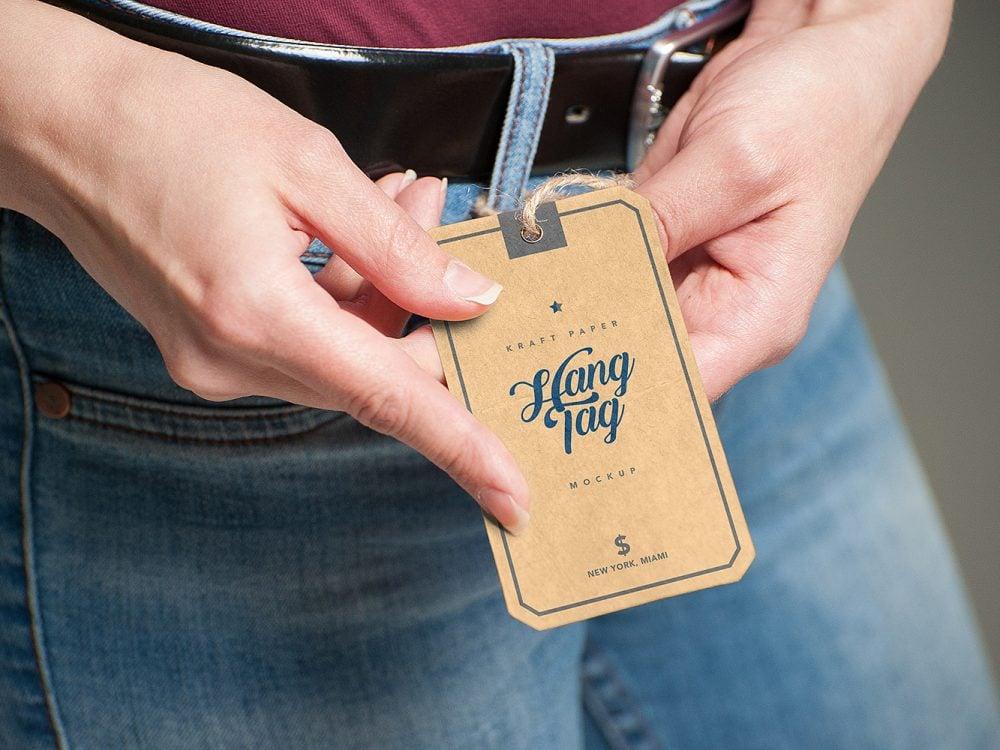 Kraft Paper Label Tag Mockup PSD