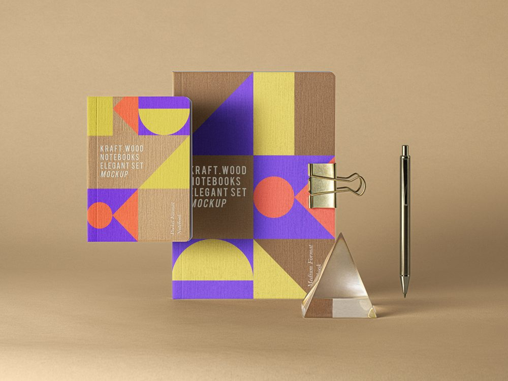 PSD Kraft Notebook Set Mockup