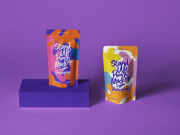 PSD Stand Up Pouch Packaging Mockup