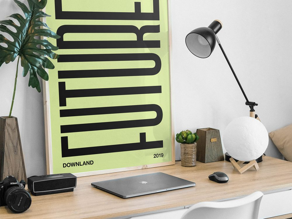 Picture Frame on a Desk Mockup