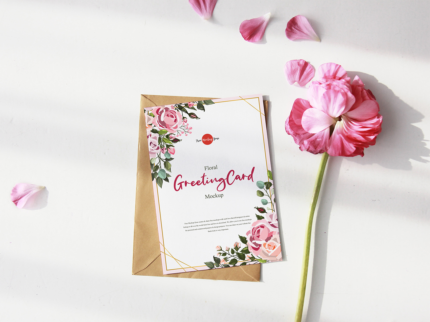 free greeting card mockup with pink flower psd  free mockup