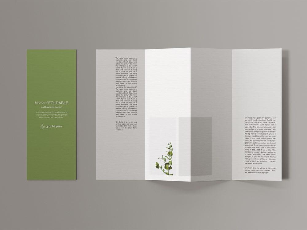 Vertical Foldable Brochure Mockup