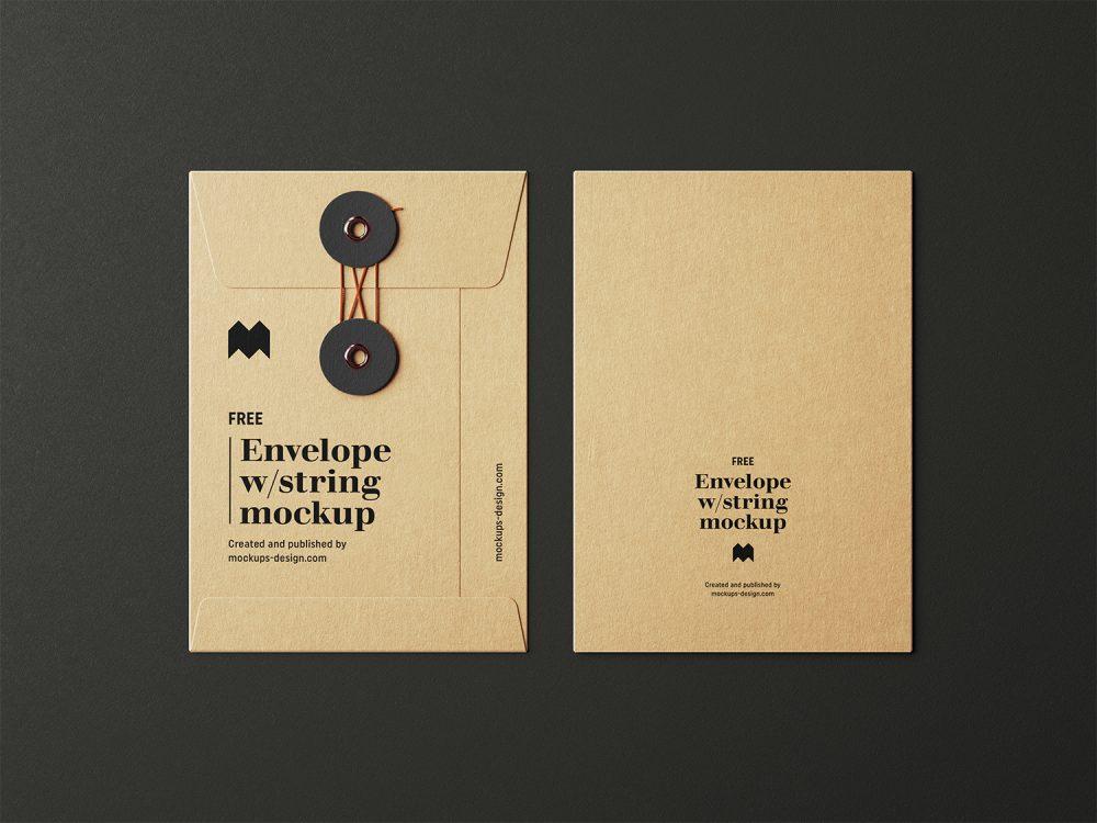 Free Envelope with String Mockup