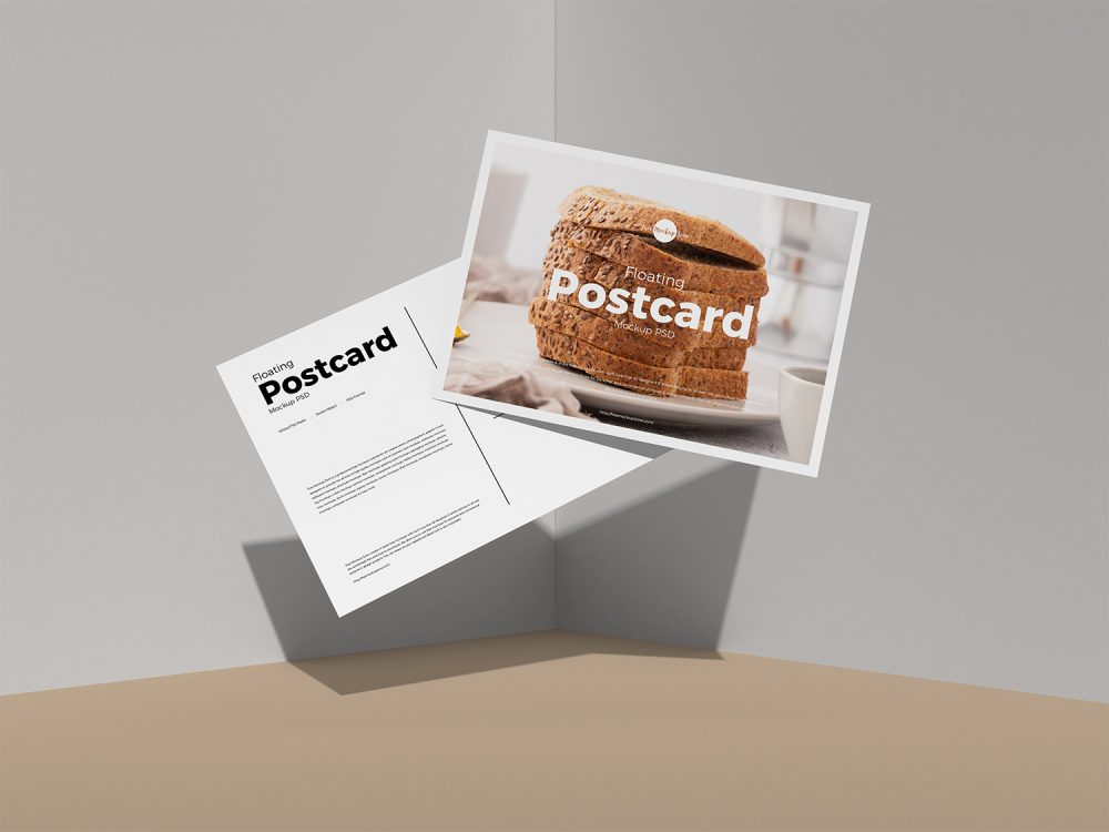 Free Floating Postcard Mockup PSD