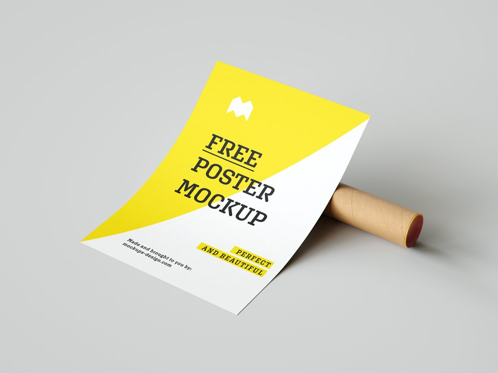 Free Poster Mockup with a Paper Tube