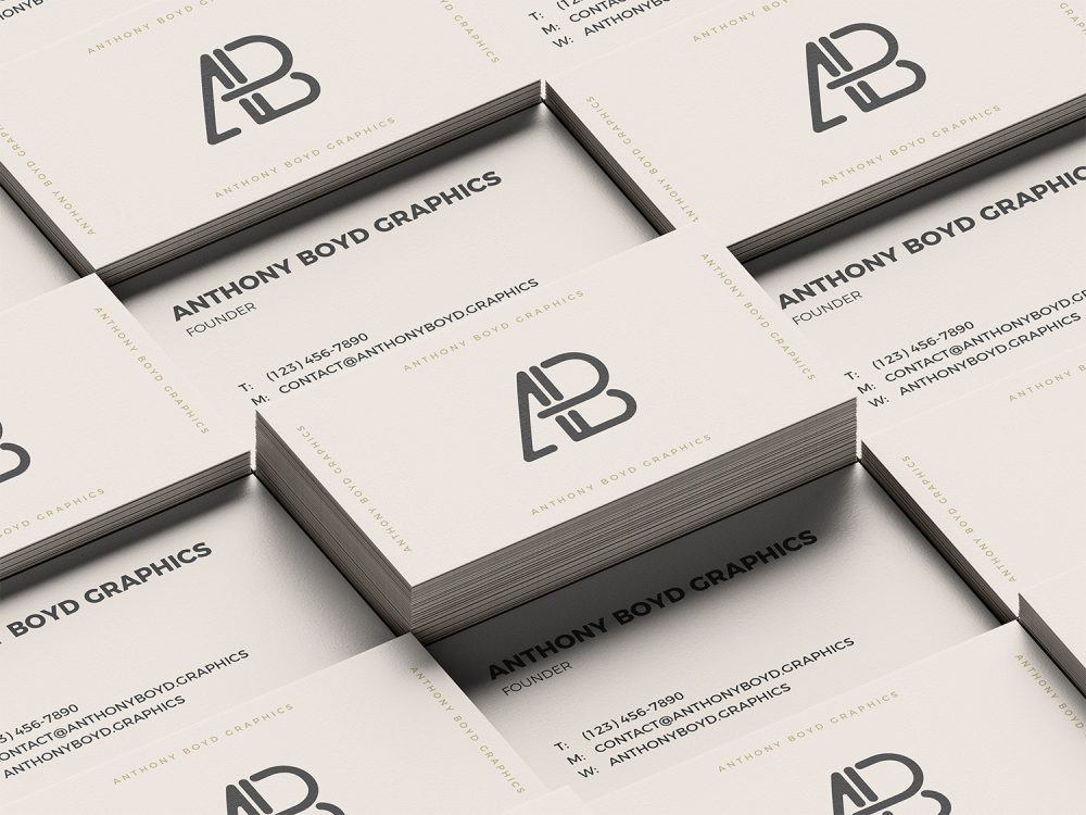 Stacked Business Cards PSD Mockup